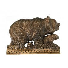 "Резное панно ""Медведица с медвежатами"""