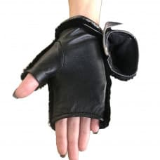 Black mitts made of leather and beaver fur
