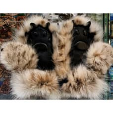 Children's mittens made of lynx fur