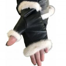 Black mitts made of leather and mink fur