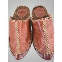 Монгольские кожаные тапочки (коричневый)