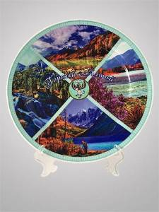 "The decorative plate ""Mountain Altai"" with coat of arms"