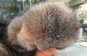 The men's cap with ear-flaps from a polar fox and the silver fox